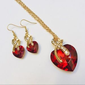 Jewelry - Gold & Red Heart Shaped Necklace & Earring Set